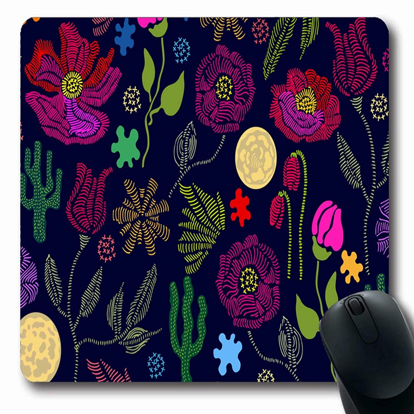JAMRON Mousepad Oblong 9.8x11.4 Inches Green Red Folk Blloming Summer Garden Floral Leaves Boho Strokes 50S 60S Cactus Non-Slip Rubber Mouse Pad Laptop Notebook