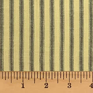 Black & Tea Dye Ticking Stripe Homespun Cotton Plaid Fabric by JCS - Sold by The Yard