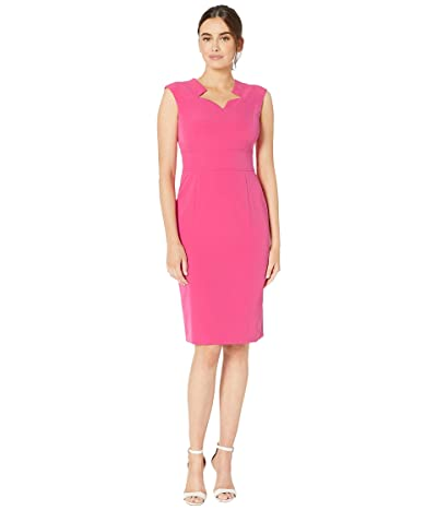 Tahari by ASL Cap Sleeve Stretch Crepe Dress with Star Neckline (Dark Cosmo Pink) Women