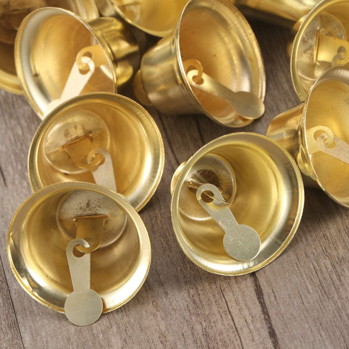 Amosfun 24 pieces craft bells jingle bells mini small bells golden wind chimes bells vintage iron bells Christmas DIY craft wind chimes