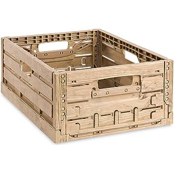 Klappboxen 10 Obstkisten 40x30x16cm klappbar neu Kunststoff Kisten Holzdekor