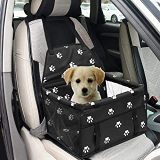 XuSheng Dog Car Seat Upgrade Portable Folding Dog Booster Car Seat-Dog Car Carrier with Clip-on Safety Leash and Dog Scarf for Small Pets.