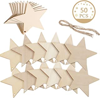 JINMURY 50 Piece Christmas Wood Star Hanging Ornaments, Rustic Wooden Star Cutouts Christmas Tree Ornaments, DIY Crafts Unfinished Wood Xmas Embellishments for Wedding Festival Christmas Decoration