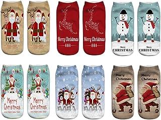 6 Pares Unisex Patrones de Navidad 3D Xmas Santa Calcetines Conjunto para niños Hombres Mujeres