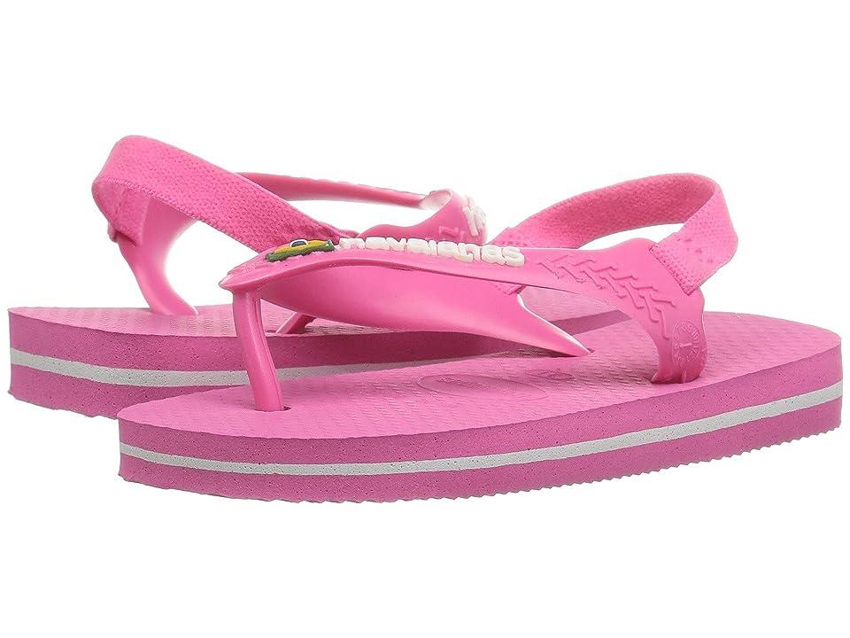 Havaianas Kids Baby Brazil Logo Flip-Flop (Toddler) (Shocking Pink) Girls Shoes