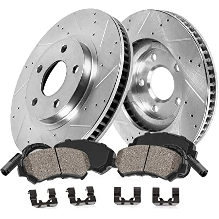 High-End 5lug Fits:- GLK350 4 Ceramic Pads Rear Kit 2 Cross-Drilled Disc Brake Rotors