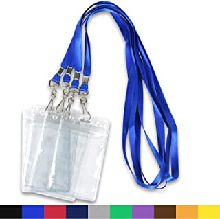 Lanyards with ID Badge Holder Name Tags Card Labels Lanyard String Keys Custom Necklace J Hooks Clip 50Pack Clear Plastic Vertical Waterproof ID Badge Nametags annd 50 Pack Lanyards
