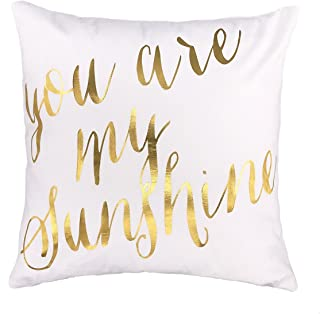4TH Emotion Gold You are My Sunshine Love Throw Pillow Case Cushion Cover Cotton Polyester 18 x 18 Inch Valentine's Day Home Decoration