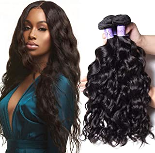 UNice Hair Peruvian Natural Wave 3 Bundles with 4x4 Free Part Lace Closure 100% Unprocessed Virgin Human Hair Weave Extensions (10 12 14+10 closure, Kysiss Series)