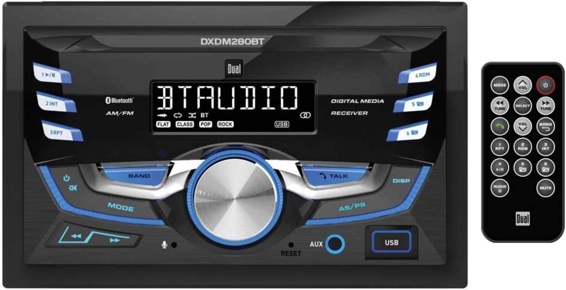 DXDM280BT Multimedia LCD High Resolution Double DIN Car Stereo Receiver with Built-in Bluetooth, CD, USB, MP3 & WMA Player