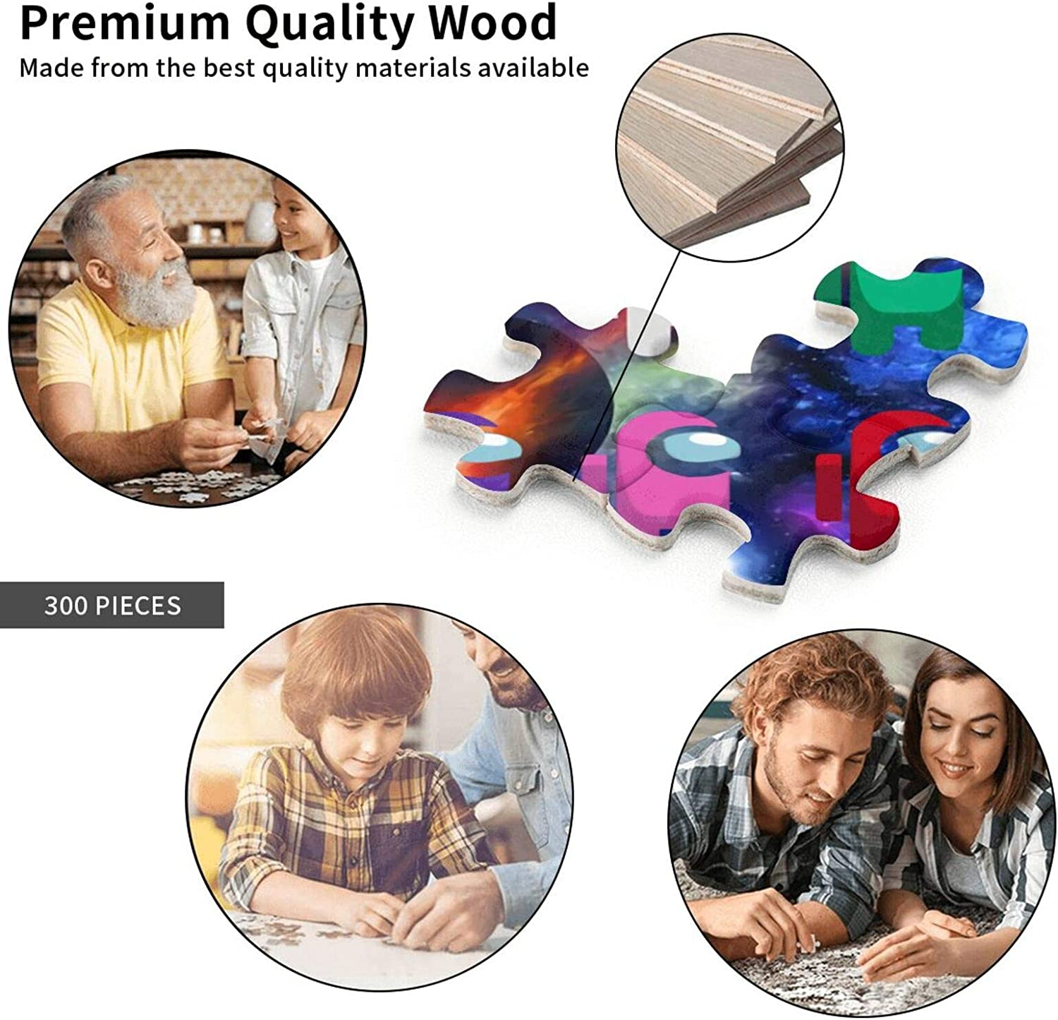 KEONSEN Among Us Puzzles 300 Piece Jigsaw Puzzles Can Fit Together Perfectly Adult Child Educational Toys and Fun Games