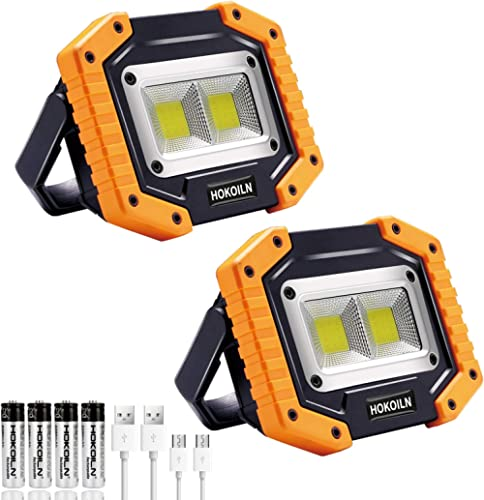 LED Work Light, HOKOILN 2 COB 30W 1500LM Rechargeable Work Light, LED Portable Waterproof LED Flood Lights for Outdoo...