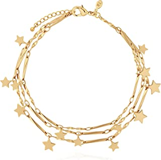Katie Loxton Magic is Something You Make Womens 7 inch Gold Plated Adjustable Bangle Bracelet Multi Chain Star Charm