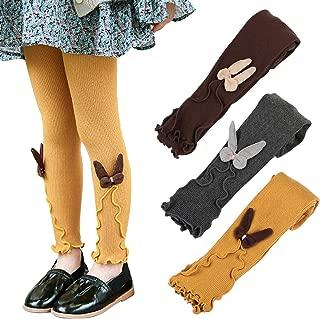 3 Pack Girls Legging Pants Cat Knit Footless Baby Toddler Tights 1-8 Year