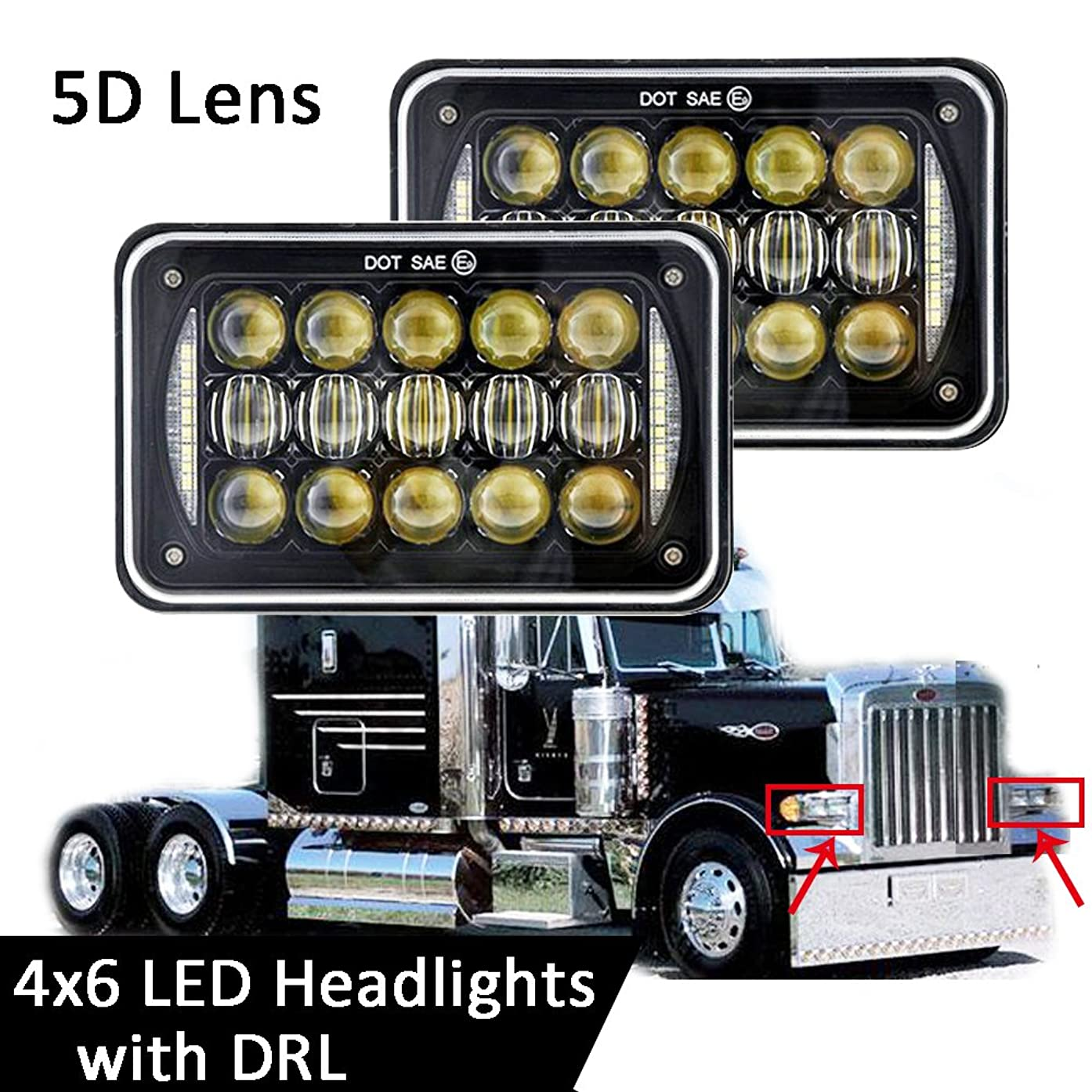 2PCS 60W 4x6 inch LED Rectangular Headlights Replace H4651 H4652 H4656 H4666 H6545 Projector For Peterbilt Kenworth Freightliner-Black
