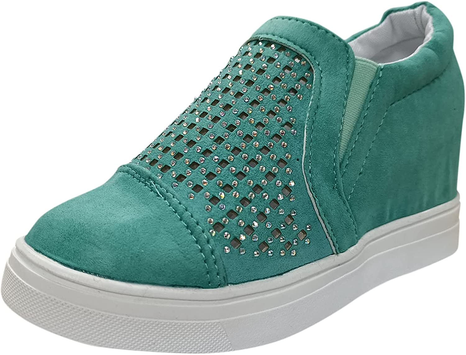 Women's Comfort Fashion Sneakers Ladies Canvas Sneakers Flat Shoes for Women Casual Comfort Fashion ker Slip Ons Loafer Slip on Shoes White Slip on Shoes Slip on Shoes for Women(Green, 9)