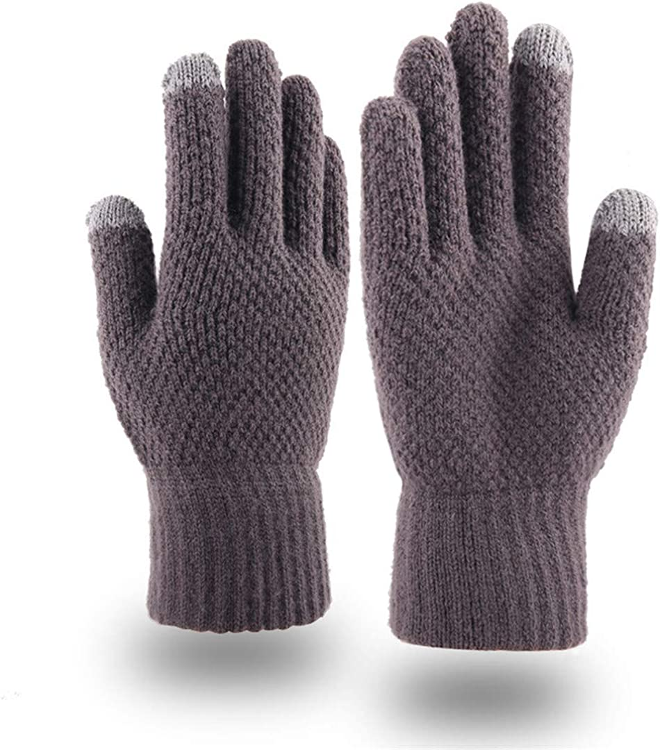 Touch Screen Knitted Gloves Men Women Thicken Wool Mitten Outdoors Anti-Slip Warmer Couple Gloves Solid Plaid grey