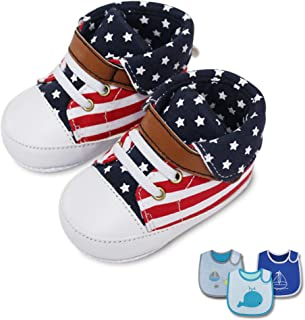 Sponsored Ad - puppet Baby Boy Teething Bibs+Shoes, Pack of 4 (3 Pcs Cotton Bib, 1 Pair Sneakers) (Whale+Sailing Boat)