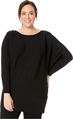 Plus Size Button-Shoulder Cotton Sweater