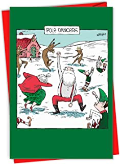 Pole Dancers - 12 Funny Christmas Greeting Cards with Envelopes (4.63 x 6.75 Inch) - Santa Claus, Reindeer, and Elf Dance Party - Boxed Holiday Notecard Set for Xmas C7082XSG-B12x1