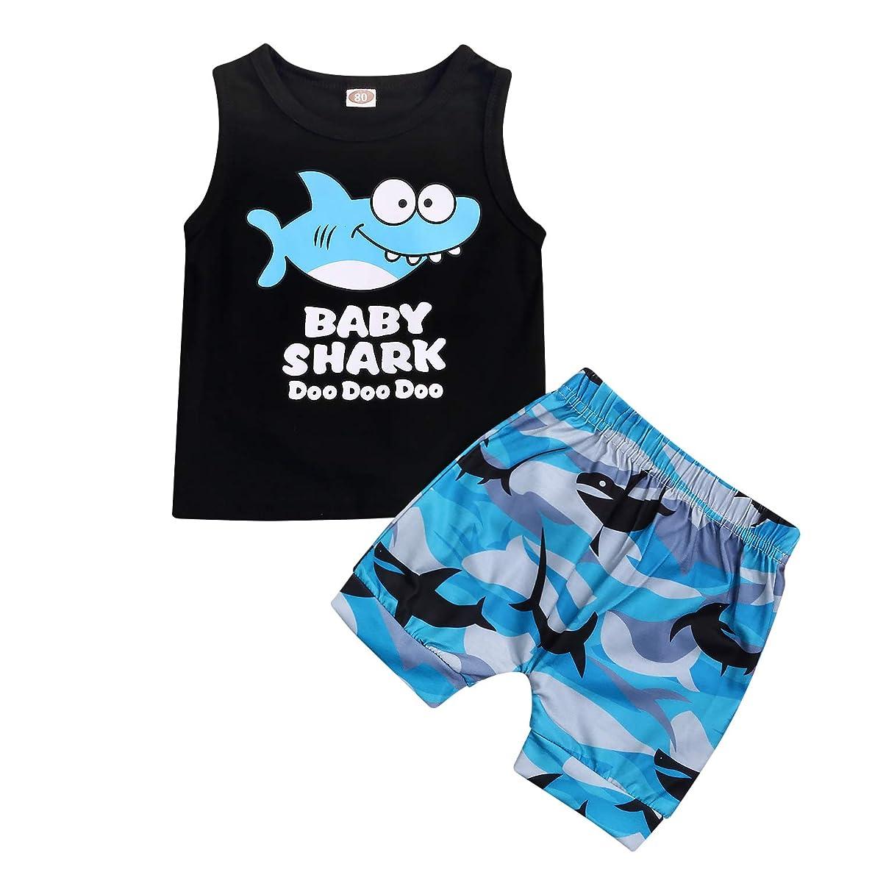 2PcsToddler Baby Boys Outfits Set,Sleeveless Cartoon Shark Print Vest Top Short Pants Suit