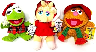 Vintage Muppets Christmas Plush: Set of 3 McDonalds Presents BABY KERMIT, MISS PIGGY, AND FOZZIE (NEW! MINT/SEALED 1988)