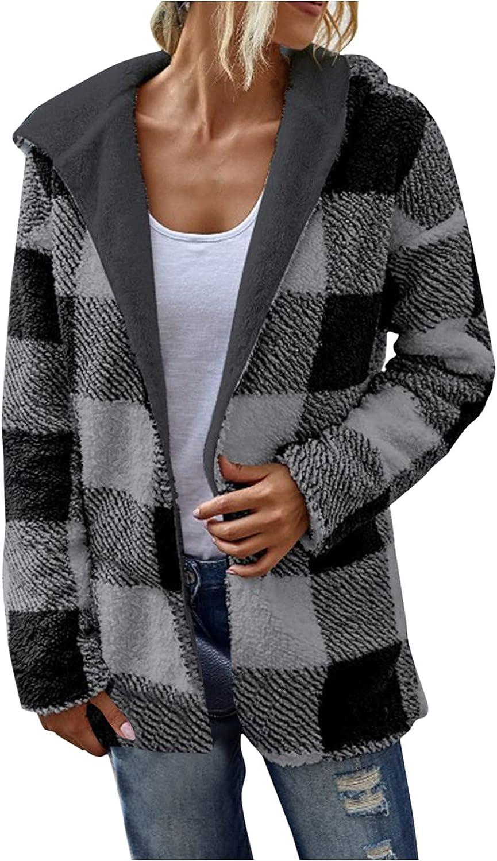 Sunhusing Womens Winter Warm Lapel Sherpa Fleece Coat Open Front