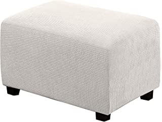 Best Ottoman Cover Stretch Ottoman Slipcovers Rectangle Storage Protect Covers Removable Footstool Footrest Covers for Ottoman High Spandex Jacquard Fabric Small Checks(Ottoman Large Size, Off White) Reviews