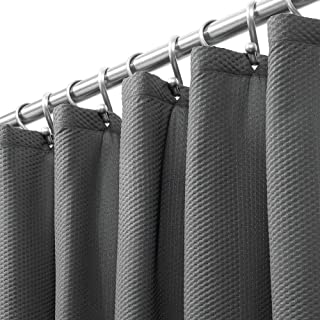 mDesign Long Soft 100% Microfiber Polyester Fabric Shower Curtain - Decorative Embossed Pattern Texture - for Bathroom Showers and Bathtubs - Easy Care, Machine Washable - 72