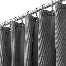 mDesign - Cortina de ducha de tela de fácil cuidado con ojales reforzados, diseño de damasco largo decorativo, para duchas...