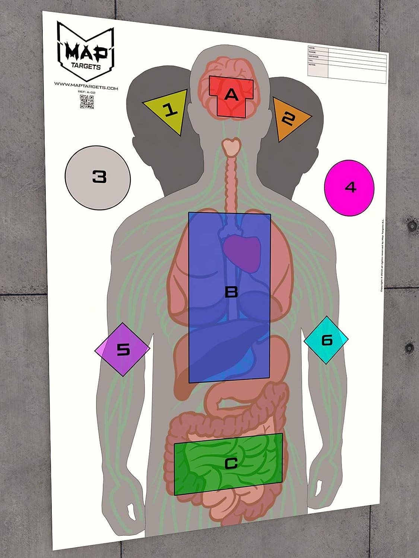 """MAP Targets Siluetas de Tiro táctico """"A-02"""" (84,1 x 59,4 cm) (Pack 50 Unidades)"""