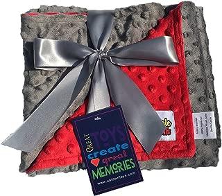 Reversible Unisex Children's Soft Baby Blanket Minky Dot (Choose Color) (Red/Grey)