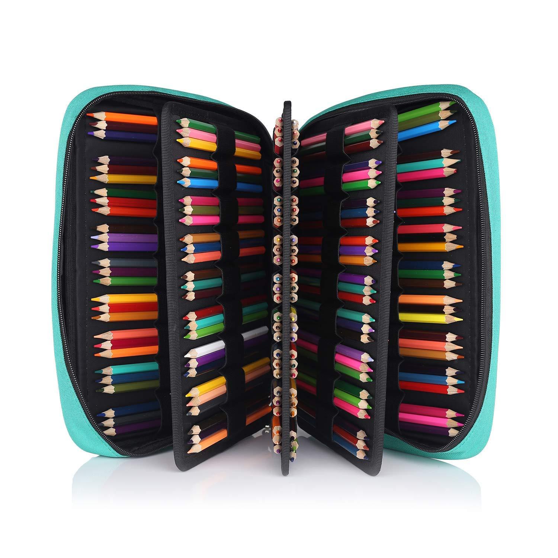 Shulaner Estuches de 200 Lápices de Colores para Bolígrafos y Marcadores de Acuarela Grandes Estuche de cremalleras Pencil Case Organizador para Escolares en Estudiantes y Artistas - Verde: Amazon.es: Oficina y papelería