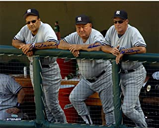 Joe Torre Don Zimmer and Mel Stottlemyre Triple Signed On Dugout Steps 16x20 Photo (Signed in Blue) - Steiner Sports Certified