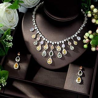 تصميم جديد فاخر AAA الزركون المياه على شكل قطرة ماء مجموعة مجوهرات للنساء متعددة الألوان عالية الجودة حزب مجوهرات الزفاف M...