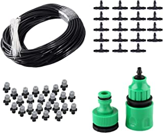 50FT Mist Cooling System with 20PCS Plastic Mist Nozzles for Outdoor Lawn Patio Garden Greenhouse