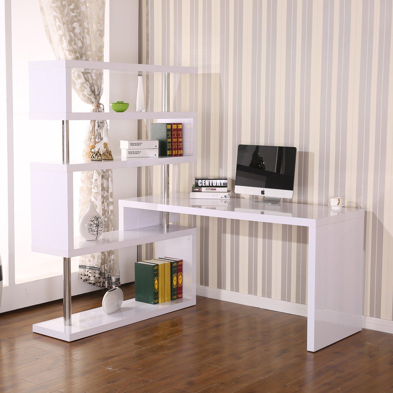 Mesa de ordenador con biblioteca adyacente pivotante 1-360°, con ...