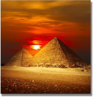 UAC WALL ARTS Modern Giclee Landscape Egyptian Pyramids Under The Dusk Pictures Paintings on Canvas Wall Art Pyramid Canvas Prints Artwork for Home Decoration 24x24Inch