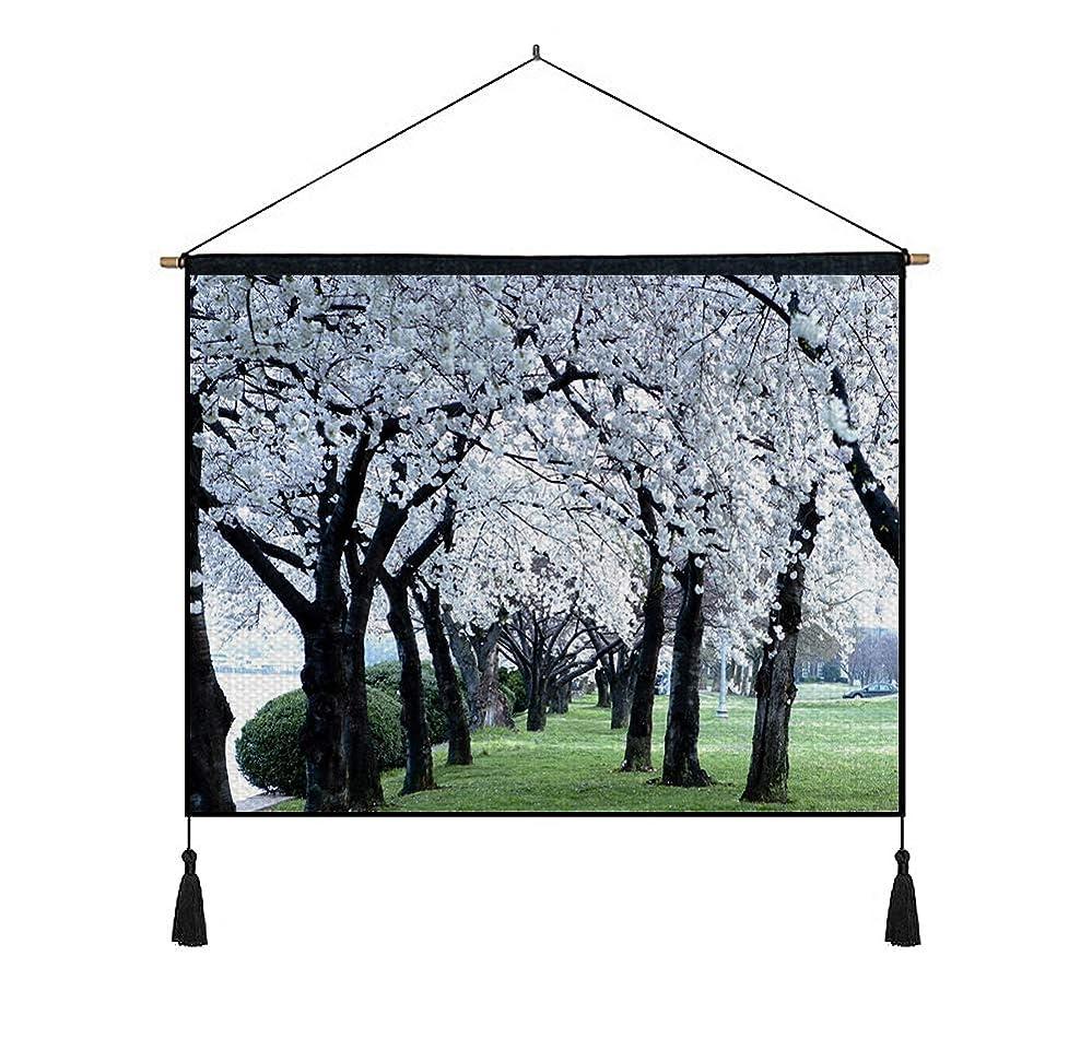 対称垂直作詞家綿の麻 タペストリー 多機能 掛け軸 掛け物 横 80cmx60cm (花の木自然草) 個性 掛け軸 掛け物 掛けじく ポスター インテリア 組立式 部屋飾り壁 壁飾り