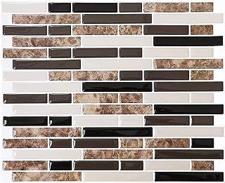 STICKGOO Panel de azulejos antisalpicaduras y antimoho de gama alta, lámina autoadhesiva de azulejos para cocina y baño, solo hay que pelar y pegar, extraíble, 27,94 x 23,37 cm (6 láminas)