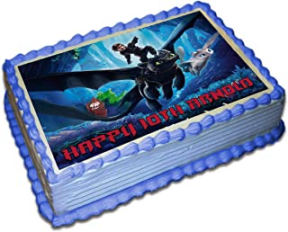 How To Train Your Dragon 3 personalized Cake Toppers Icing Sugar Paper 1/4 8.5 x 11.5 Inches Sheet Edible Frosting Photo Birthday Cake Topper (Best Quality Printing)