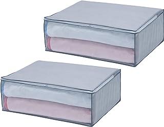 アストロ 布団収納ケース グレー 2個組 毛布・軽寝具用 不織布 収納袋 収納ボックス 167-02