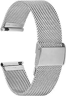 Fullmosa Bracelet de Montre 18mm,en Maille en Acier Inoxydable,Bracelet de Remplacement ML série 18mm Argenté