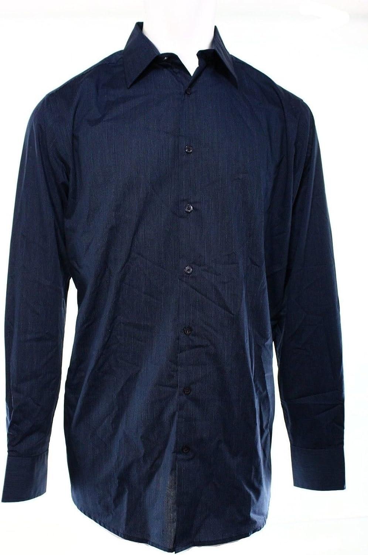 Alfani Navy Blue Mens Size Lt Button-front Pinstriped Print Shirt Color Modern Navy