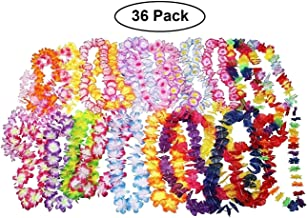 Oojami 36 Piece Hawaiian Leis Necklace Tropical Luau Hawaii Flower Lei Theme Party Favors Birthday Wedding Beach Luau Party 3 Dozens Bright Colors