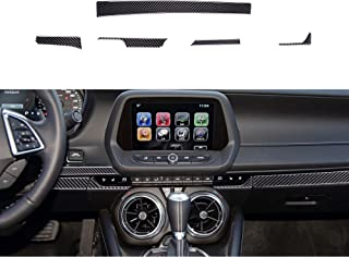 RUKAIYOR Compatible with 5PCS Black Carbon Fiber Interior Central Control Instrument Panel Trim Cover Decoration Accessories for Chevrolet Camaro 2017 2018 2019 2020