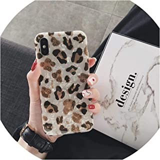 Fashion Colorful Leopard Print Conch Shell Phone Case for iPhone Xs Max XR X 6 6s 7 8 Plus Back Cover Luxury Soft Cases-in Half,for iPhone 8,Ivory