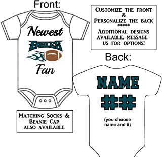Personalized Custom Made Newest Eagles Fan Football Gerber Onesie Jersey - Baby Announcement Reveal or Shower Gift