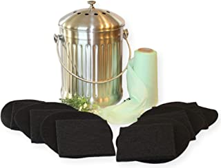 Kitchen Compost Pail Bin for Countertop - LARGE 1.3 Gallon Food Scrap Container, Leak proof Stainless Steel - Includes 1 Year's Worth of Dual Charcoal Filters & Compost Pail Bags