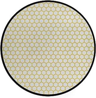 JOSENI Home Decor Light Round Area Rug, Hexagonal Pattern Honeycomb Beehive Simplistic Geometrical Monochrome ,Super Soft Circle Carpet (6'Diameter)